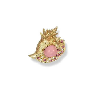 A CONCH PEARL, DIAMOND, PINK S