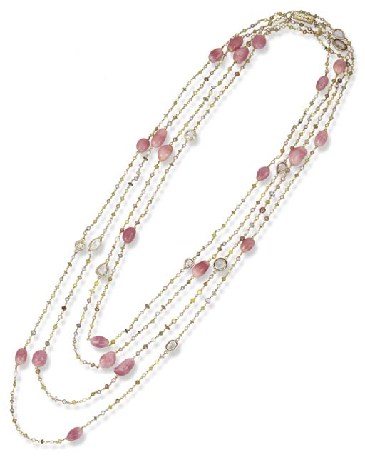 A CONCH PEARL, SEED PEARL AND MULTI-COLOURED DIAMOND LONGCHAIN NECKLACE