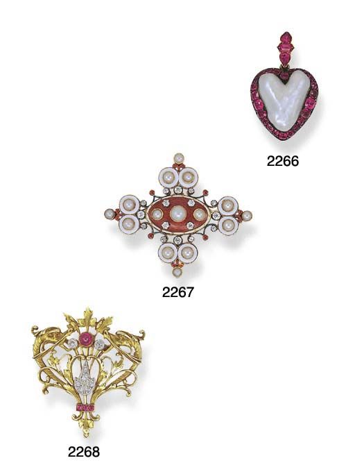 AN ANTIQUE BAROQUE PEARL AND RUBY HEART PENDANT