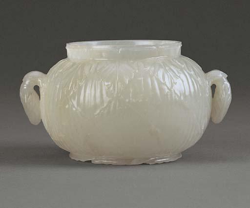 A FINE WHITE JADE MUGHAL JAR