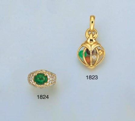 AN EMERALD AND DIAMOND RING, B