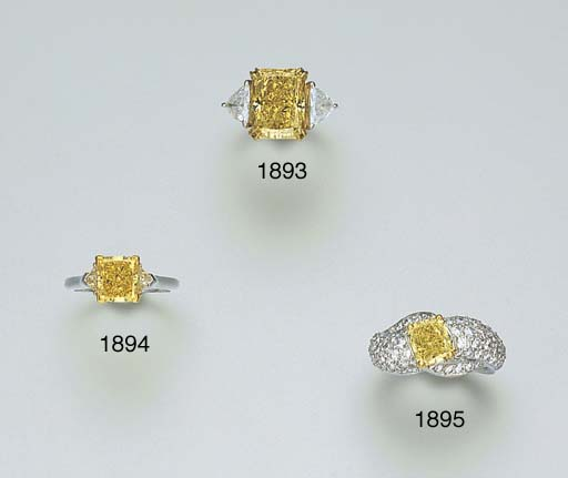 A YELLOW DIAMOND AND DIAMOND R