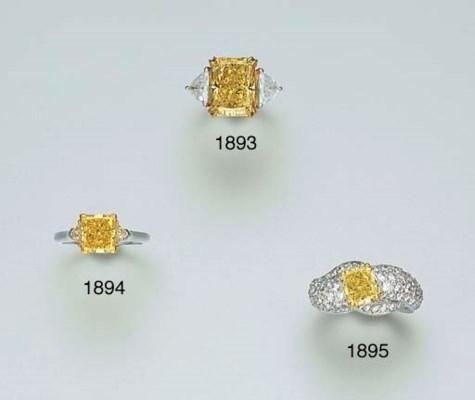 A YELLOW DIAMOND AND DIAMOND R