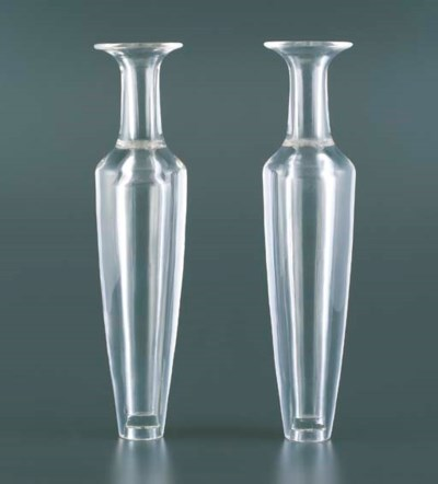 A PAIR OF ROCK CRYSTAL VASES