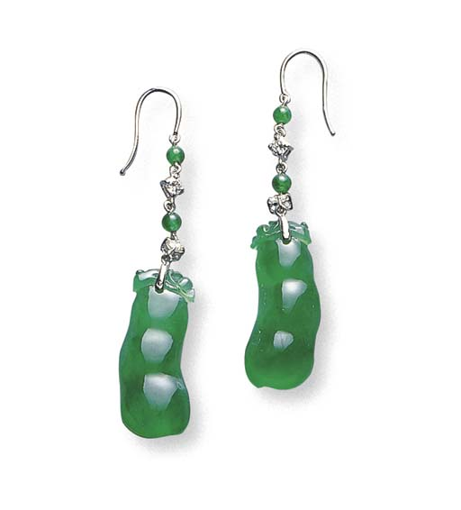 A PAIR OF JADEITE PEAPOD AND D