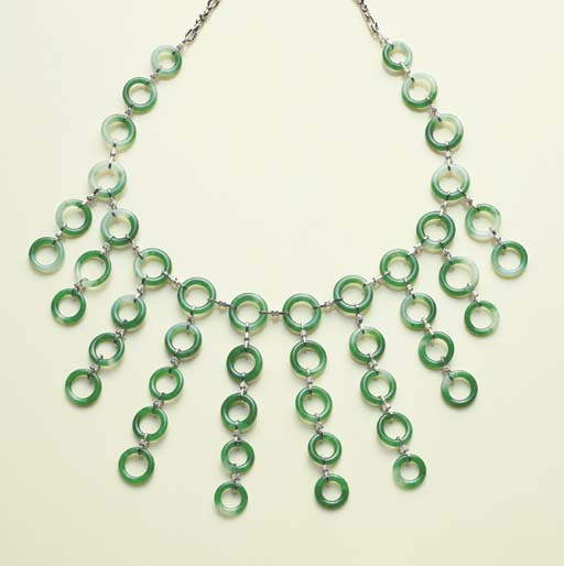 A JADEITE HOOP NECKLACE