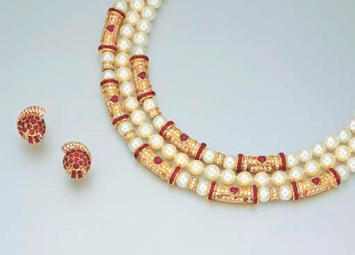 A GROUP OF CULTURED PEARL, RUB