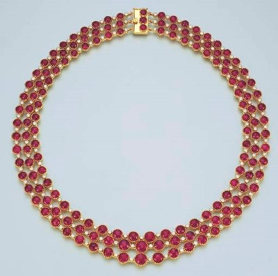 A RUBY AND DIAMOND NECKLACE
