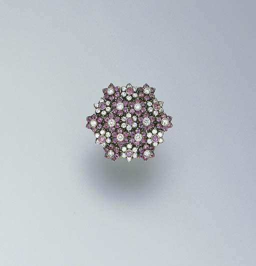 A DIAMOND AND PINK SAPPHIRE RI