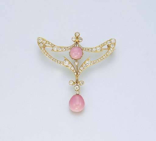 AN ART NOUVEAU CONCH PEARL AND
