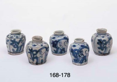 FIVE UNDERGLAZE BLUE AND WHITE