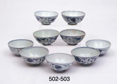 FIVE BLUE AND WHITE BOWLS