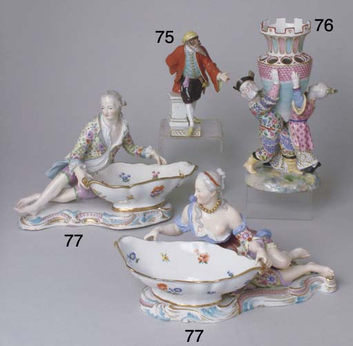 A PAIR OF MEISSEN PORCELAIN SW