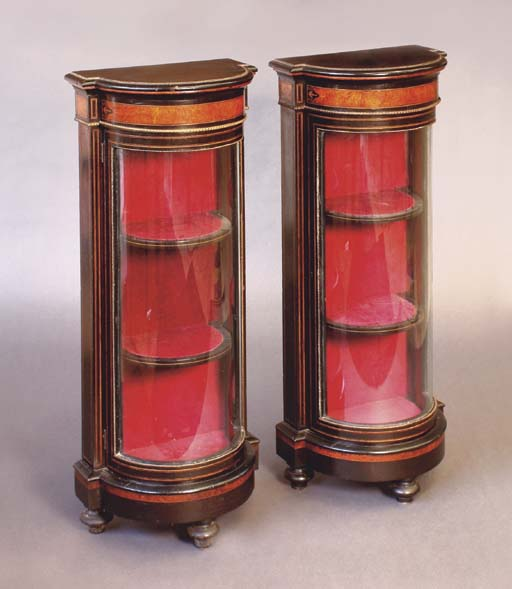 A PAIR OF VICTORIAN EBONISED,
