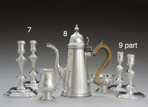 A SILVER COFFEE POT, SUGAR BOW