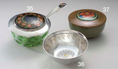 A SILVER AND ENAMEL AND GLASS