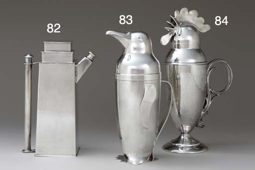 A SILVER-PLATED PENGUIN-FORM COCKTAIL SHAKER