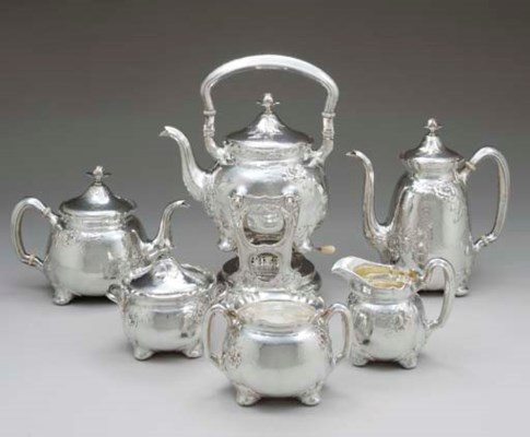 A MARTELÉ SILVER SIX-PIECE TEA