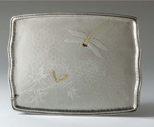 A SILVER AND MIXED-METAL TRAY