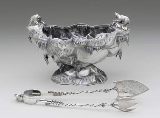 A SILVER ICE BOWL AND ICE TONG