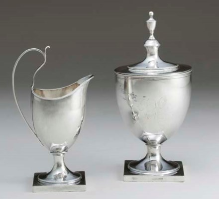 A SILVER SUGAR URN AND CREAM J