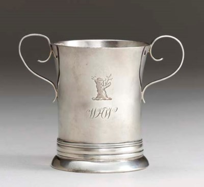 A SILVER TWO-HANDLED CUP