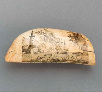 A POLYCHROMED SCRIMSHAW WHALE