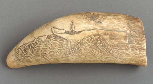 A relief carved whale tooth probably american th