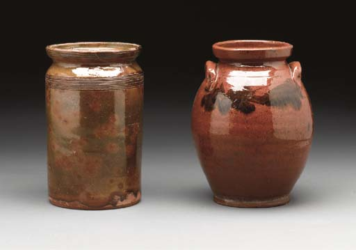TWO GLAZED REDWARE CROCKS