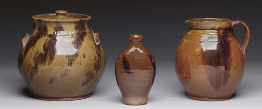A GROUP OF THREE REDWARE ITEMS
