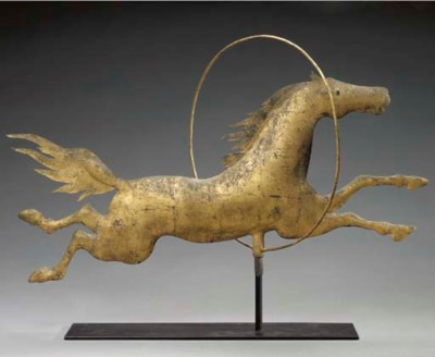 A MOLDED COPPER JUMPING HORSE