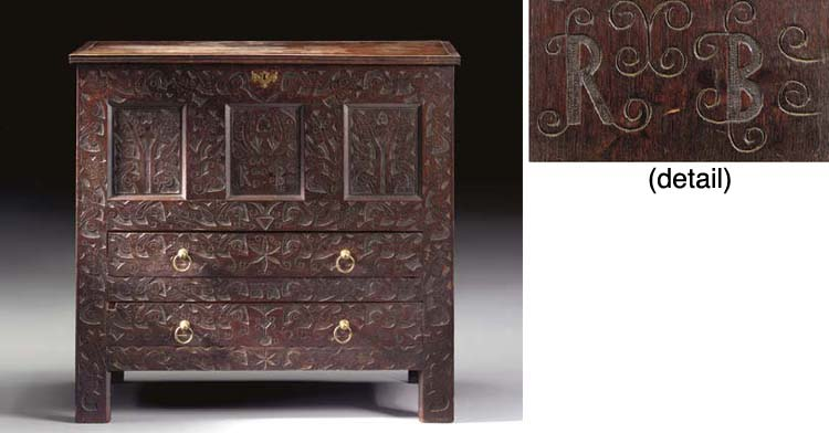 A PILGRIM CENTURY CARVED OAK CHEST-OVER-DRAWERS