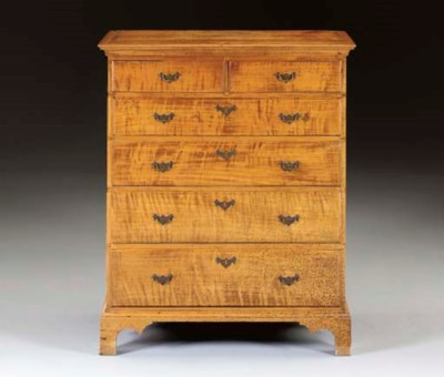 A CHIPPENDALE FIGURED MAPLE TA