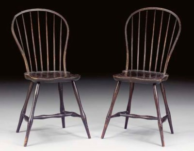 A PAIR OF BOWBACK WINDSOR SIDE