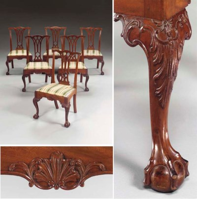 A SET OF SIX CHIPPENDALE CARVE