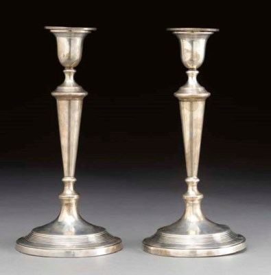 A PAIR OF GEORGIAN SILVER CAND