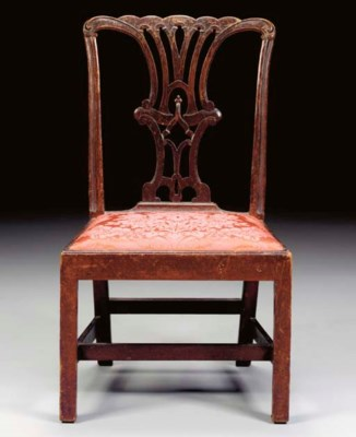 A CHIPPENDALE CARVED MAHOGANY