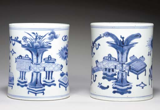 TWO BLUE AND WHITE BRUSHPOTS