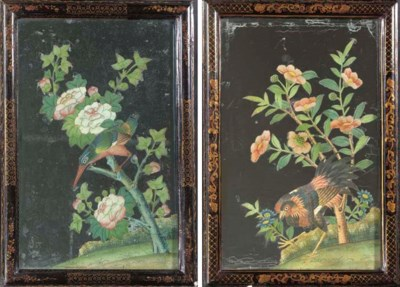 A PAIR OF REVERSE PAINTINGS ON