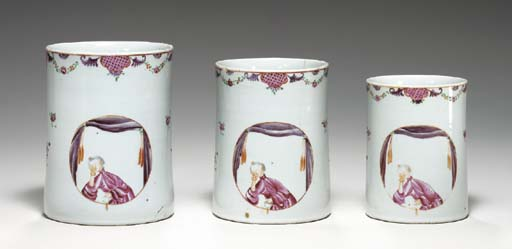 A SET OF THREE GRADUATED MUGS