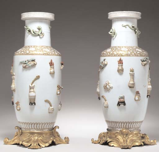A PAIR OF GILT BRONZE-MOUNTED