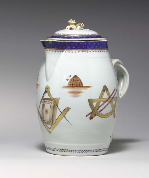 A MASONIC JUG AND COVER