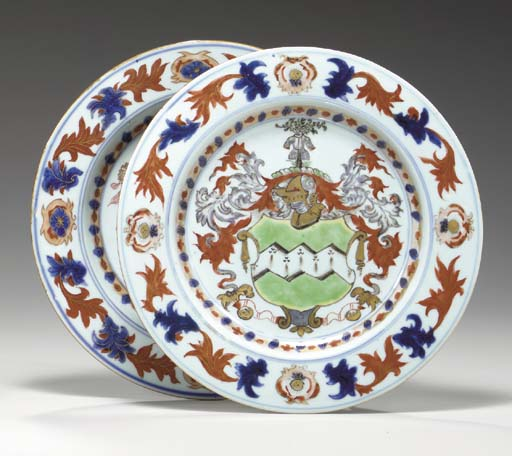 A CHINESE IMARI ARMORIAL PLATE