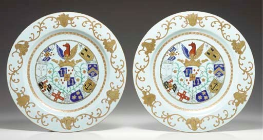 A PAIR OF ARMORIAL CHARGERS