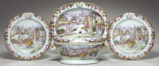 A CRESTED TUREEN, COVER AND ST