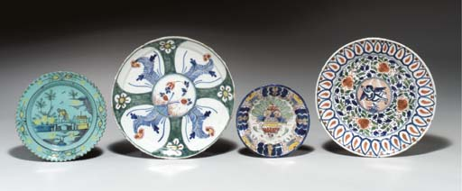 FOUR DUTCH DELFT PLATES