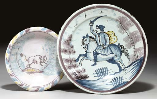 A DUTCH MAIOLICA BOWL AND CHARGER