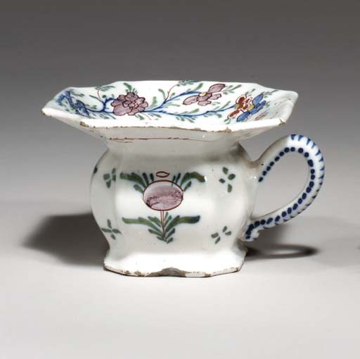 A DUTCH DELFT LADY'S SPITOON
