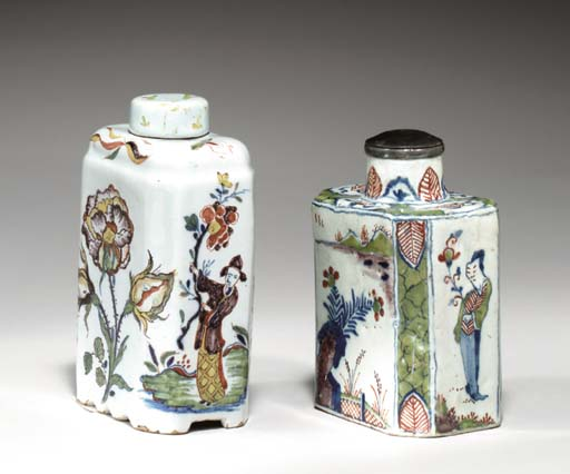 A DUTCH DELFT TEA CADDY AND A