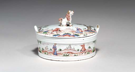 A DUTCH DELFT BUTTER TUB AND C
